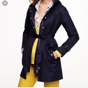 J crew matinee hooded trench coat 00 navy blue